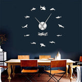 Giant Wall Clock: Ocean Sharks - black or silver