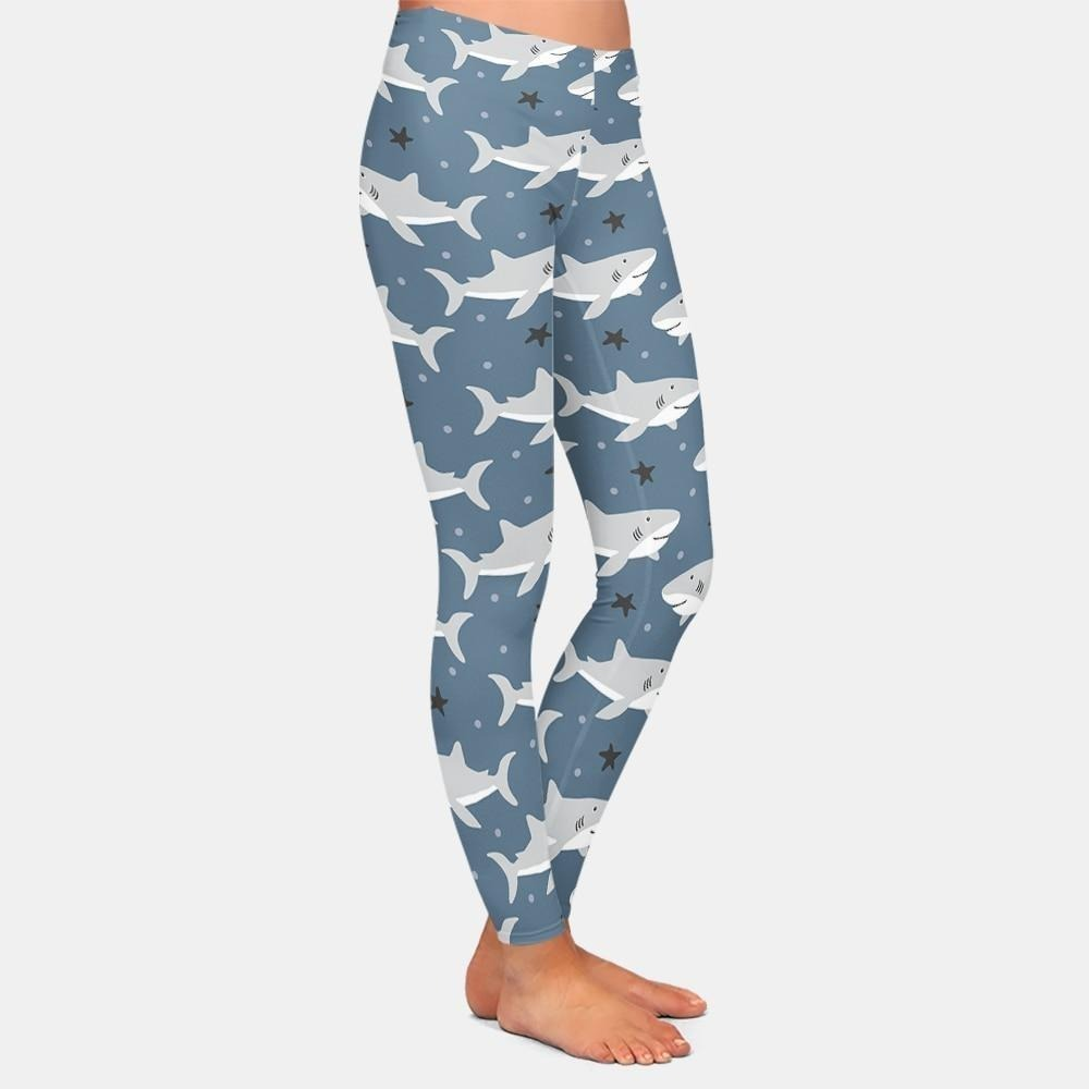 Women Leggings: Cute Shark Print