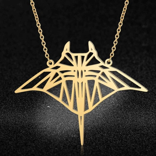 Necklace: Large Manta Ray - silver or gold