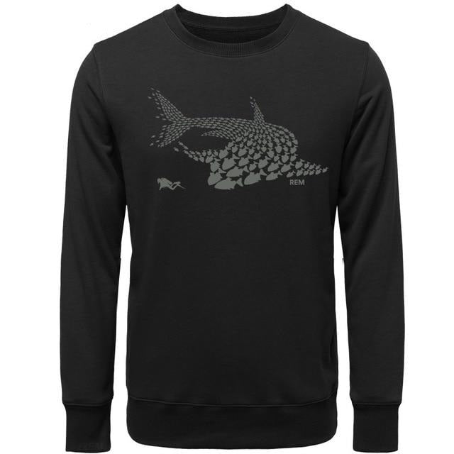 Mens Hoodie: Whale Shark & Diver Collage