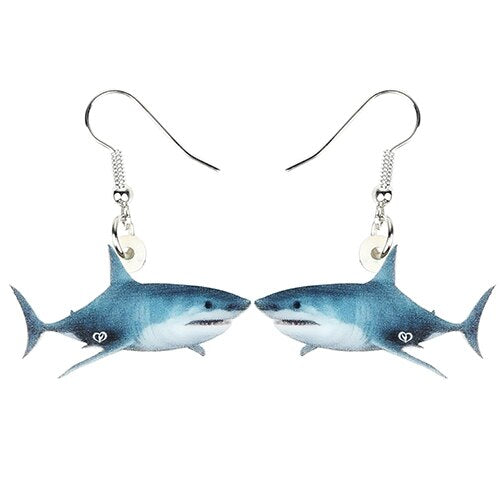 Bonsny Acrylic Ocean Sea Shark Fish Earrings Drop Dangle