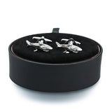 Shark Cufflinks black leather box