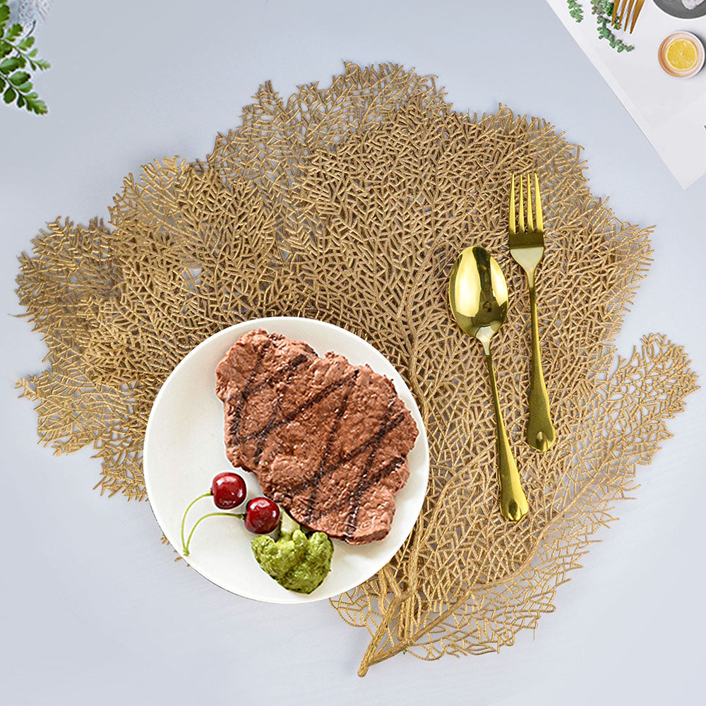 Creative Coral Leaf Placemat For Dining Table Mat Gold
