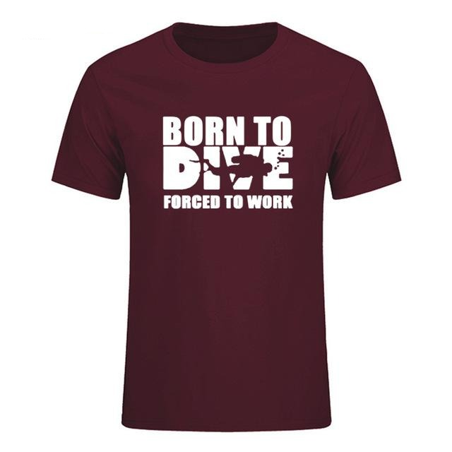 T-Shirt Men: Born to Dive, Forced to Work maroon