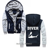 Men Coated Hoodie: Diver & Shark