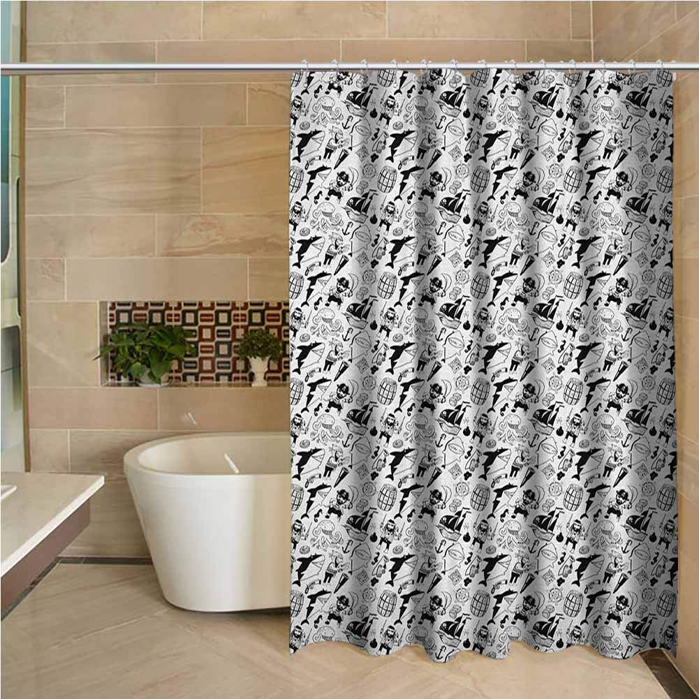 Shower Curtain: Black and White Sharks