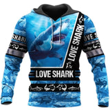 Men's Hoodie: Sharks Love Blue