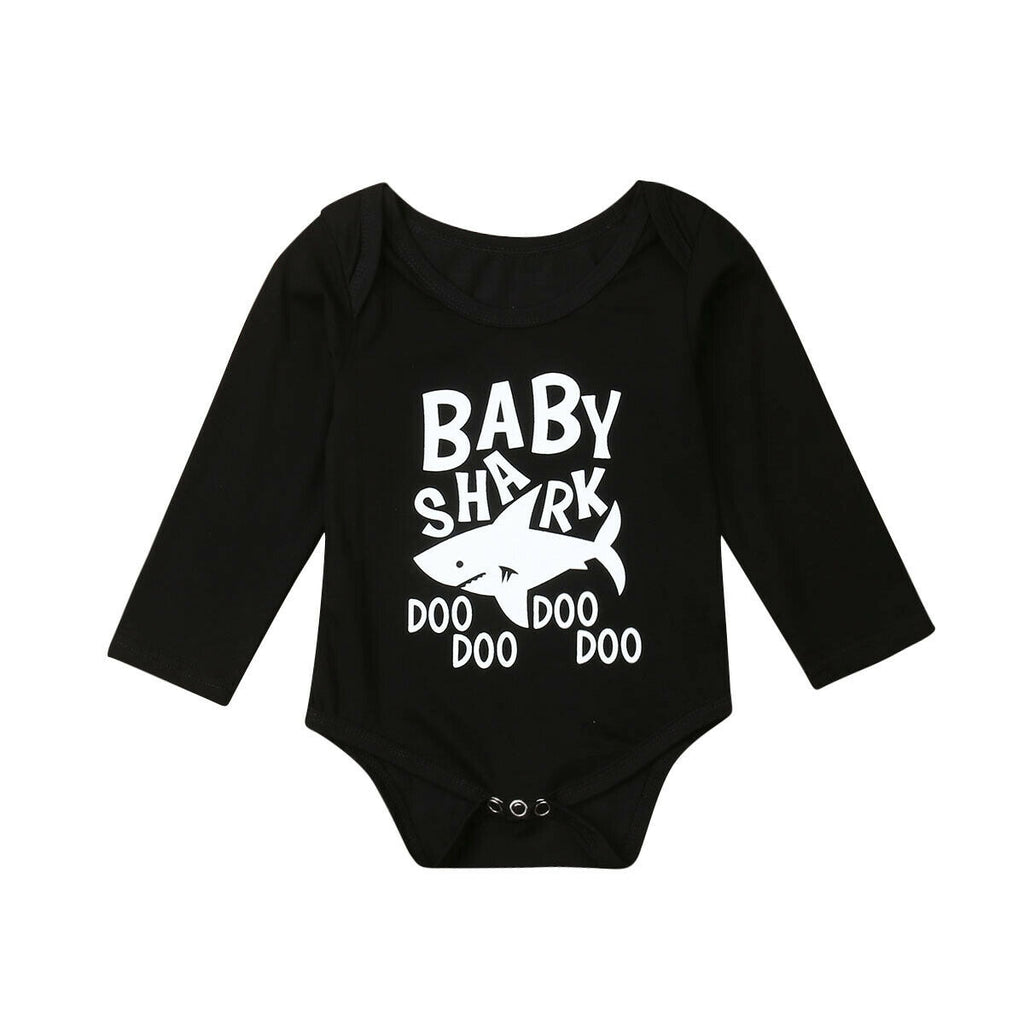 Baby Romper with shark: Long Sleeve - black & white