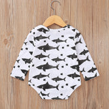 Baby Romper with sharks: long sleeve