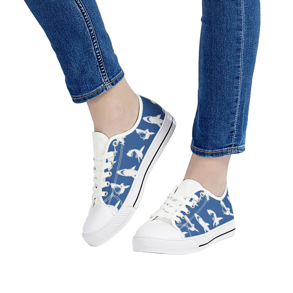 White & Black Sneakers: Shark Print
