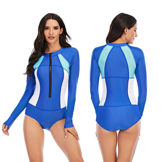 Rashguard Women Long Sleeve: Blue & White