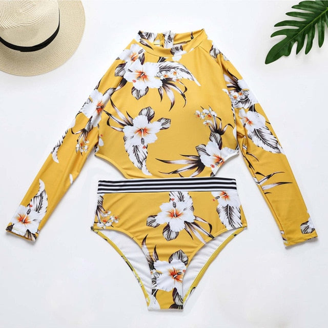 Rashguard Women Long Sleeve: Floral print  Yellow