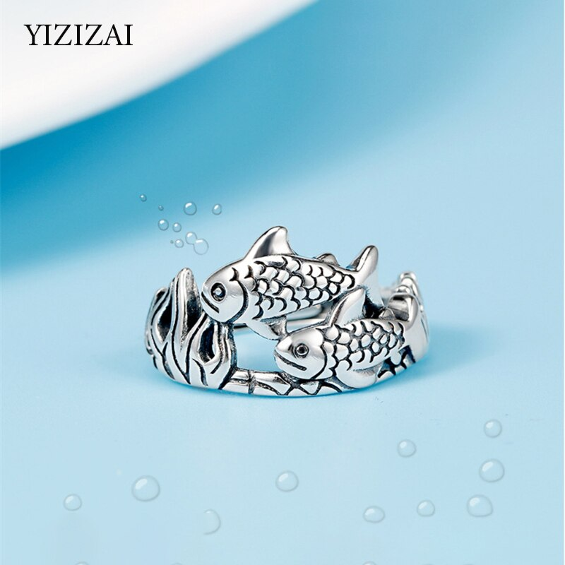 Adjustable silver Ring: Coral Reefs with Fish