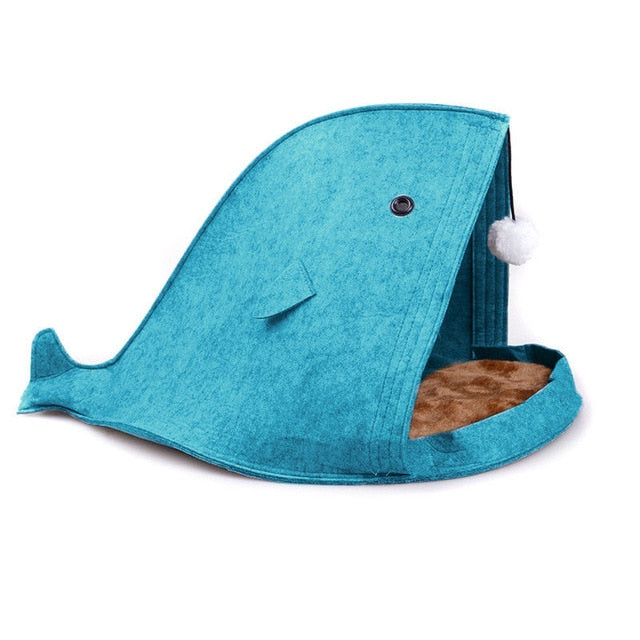 Shark Shape Folded Cats Bed Blue