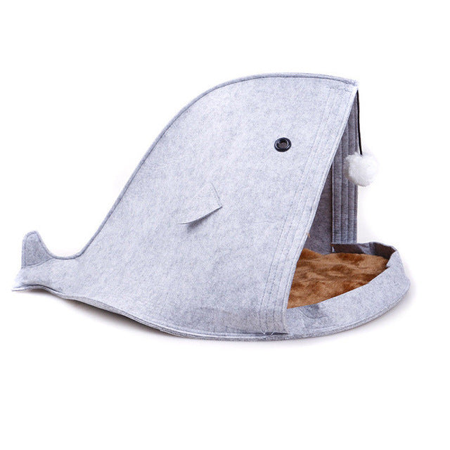 Shark Shape Folded Cats Bed Grey