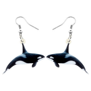 Bonsny Acrylic Ocean Killer Whale Earrings