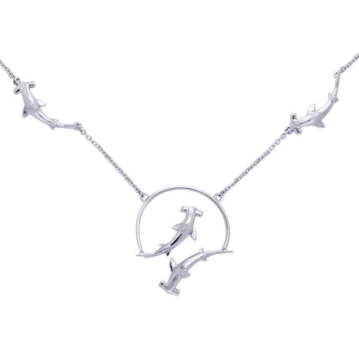 Peter Stone Quadruple Hammerhead Shark 925 Sterling Silver Necklace