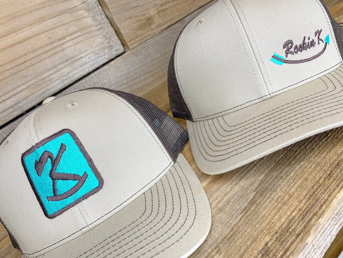 Rockin' K Logo Hats // Tan front Brown back