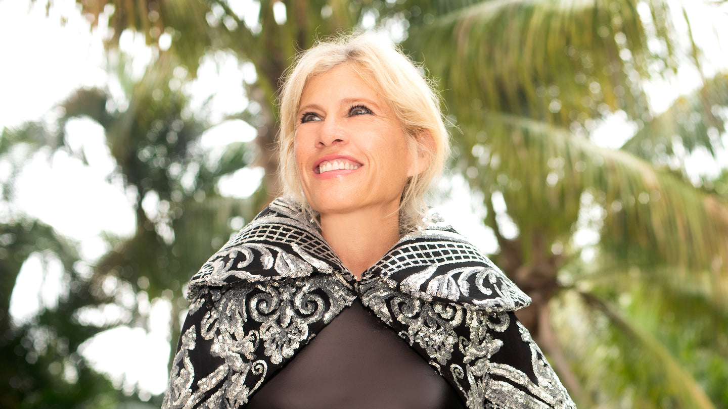Donna Leah Designs Fashion Designer, Black Gown, Palm trees, Silver sequined cape