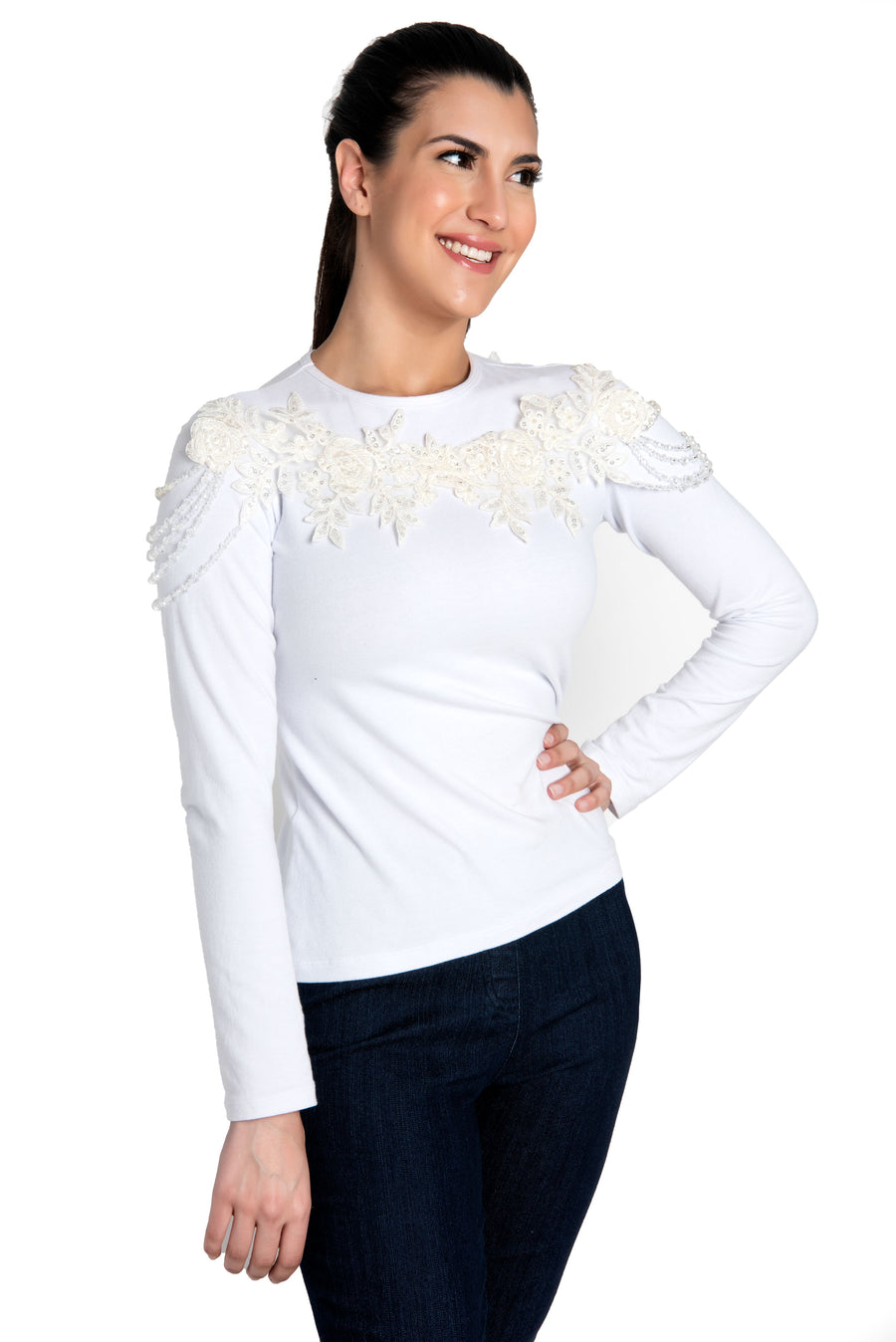 Long Sleeve White Top With Jeweled Neckline