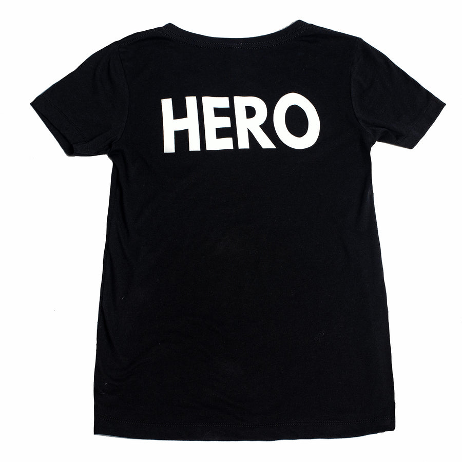 Super Hero V-Neck Black T-Shirt by Donna Leah Designs