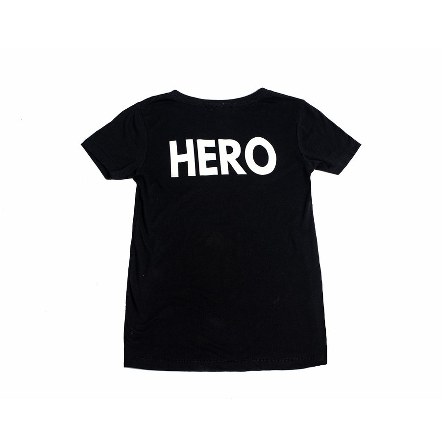 Kids Super Hero Black T-Shirt by Donna Leah Designs