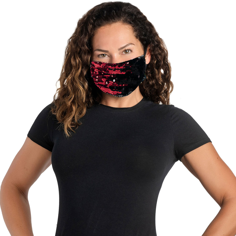 Glamorous Red Sequined Facemask