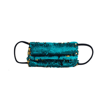 Glamorous Turquoise Sequined Facemask