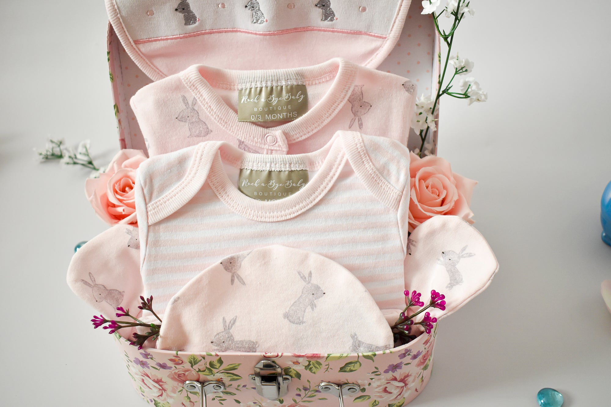 BUNNY and STRIPES Pink Baby Hamper, 5-Piece Set, Sleepsuit, Bodysuit, Hat, Mittens, Bib, Girl Baby Hamper, Keepsake Gift Box