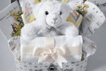 ADORABLE Toybox White Baby Hamper, Sleepsuit, Bodysuit, Cuddly Bear, Neutral, Unisex, New Mum Hamper, Keepsake Gift Box
