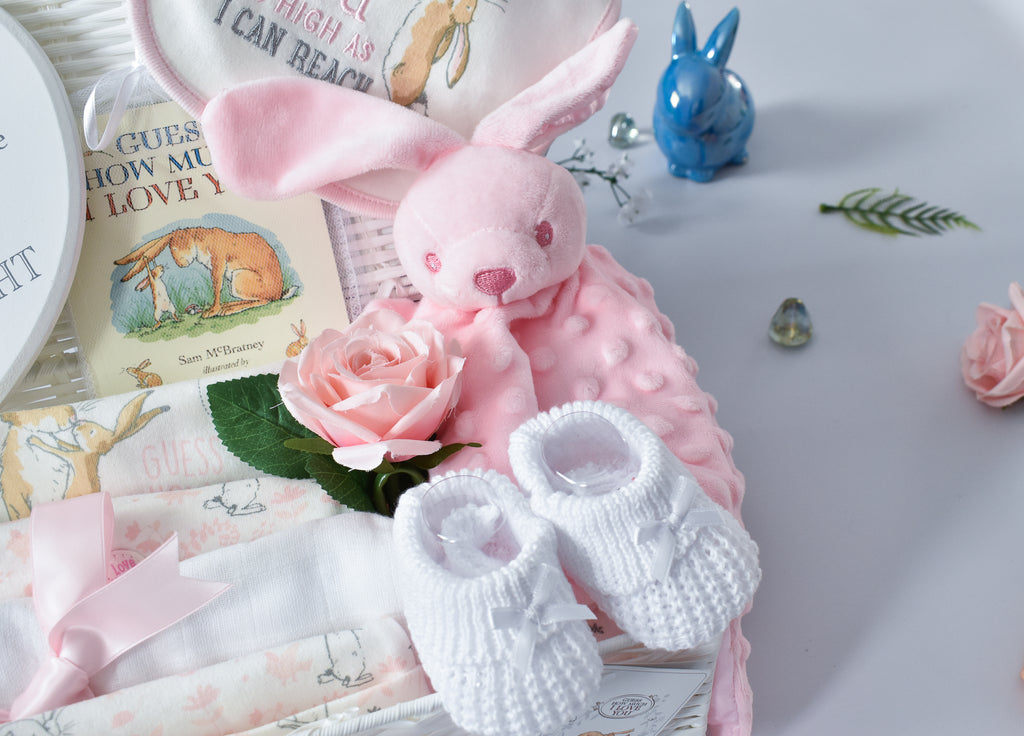 ADORABLE BUNNY and HER MAGICAL Garden Baby Hamper, Large Baby Hamper, Sleepsuit, Bodysuit, Comforter, Girls Baby Hamper, Keepsake Gift Box