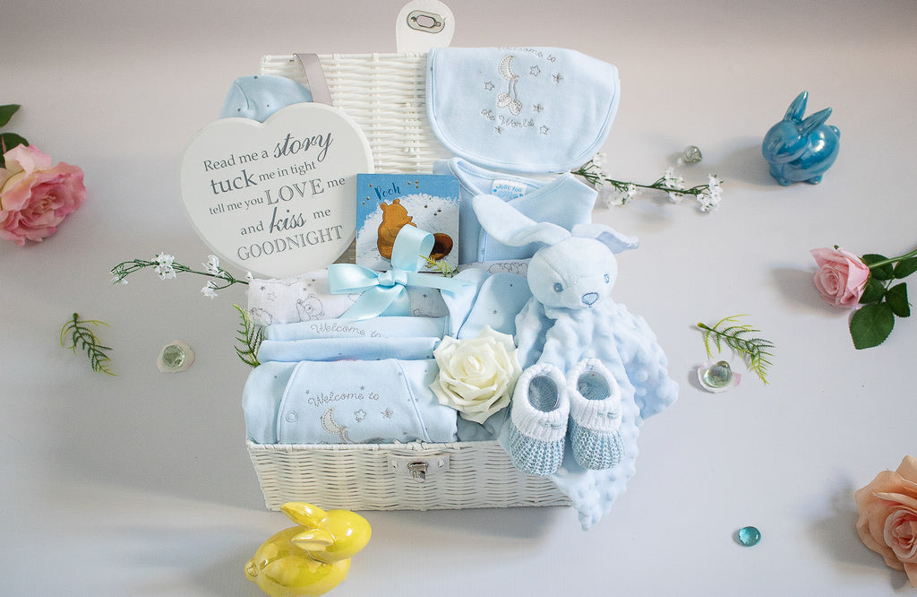 WELCOME to THE WORLD Little Blue Bunny Baby Hamper