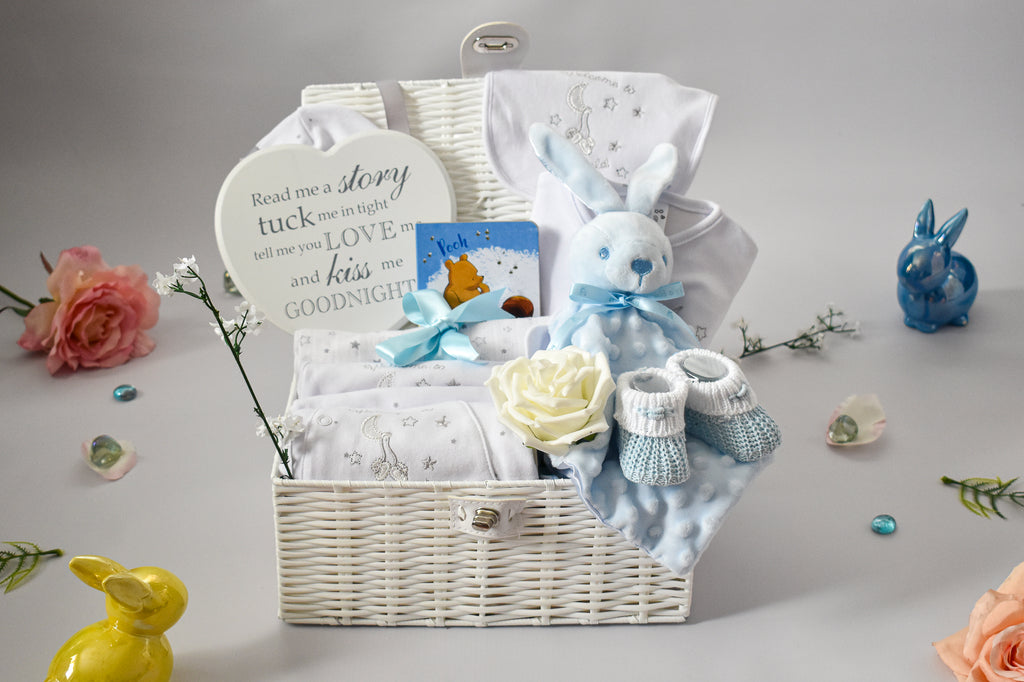 WELCOME to THE WORLD Little Blue Bunny White Baby Hamper