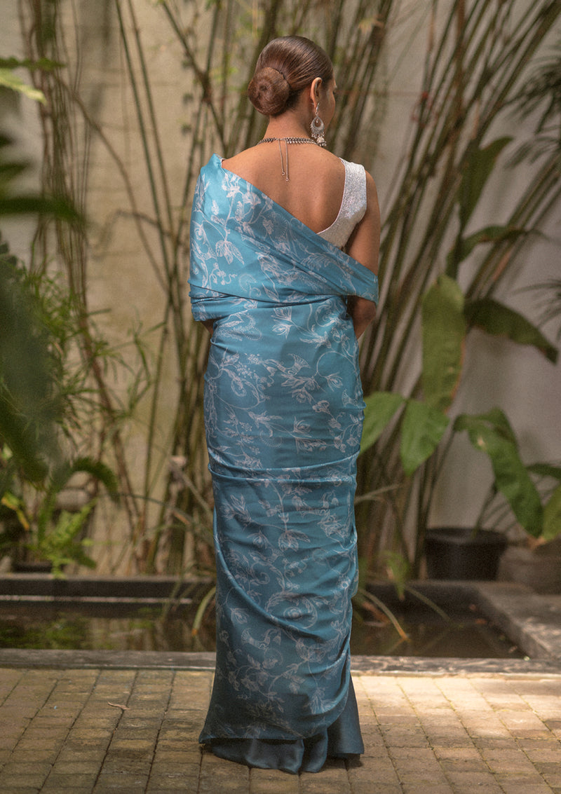 Vintage Orchid Blue Saree