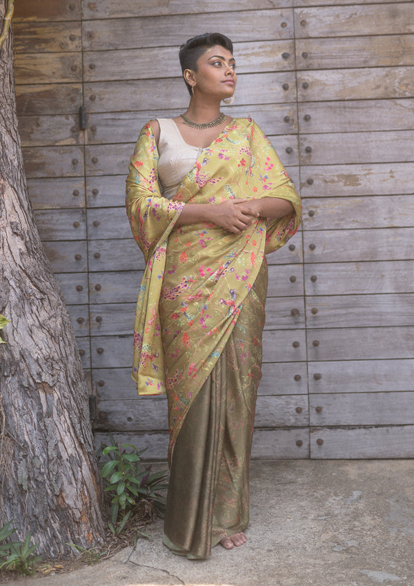 Whimsical Gradient Olive Saree