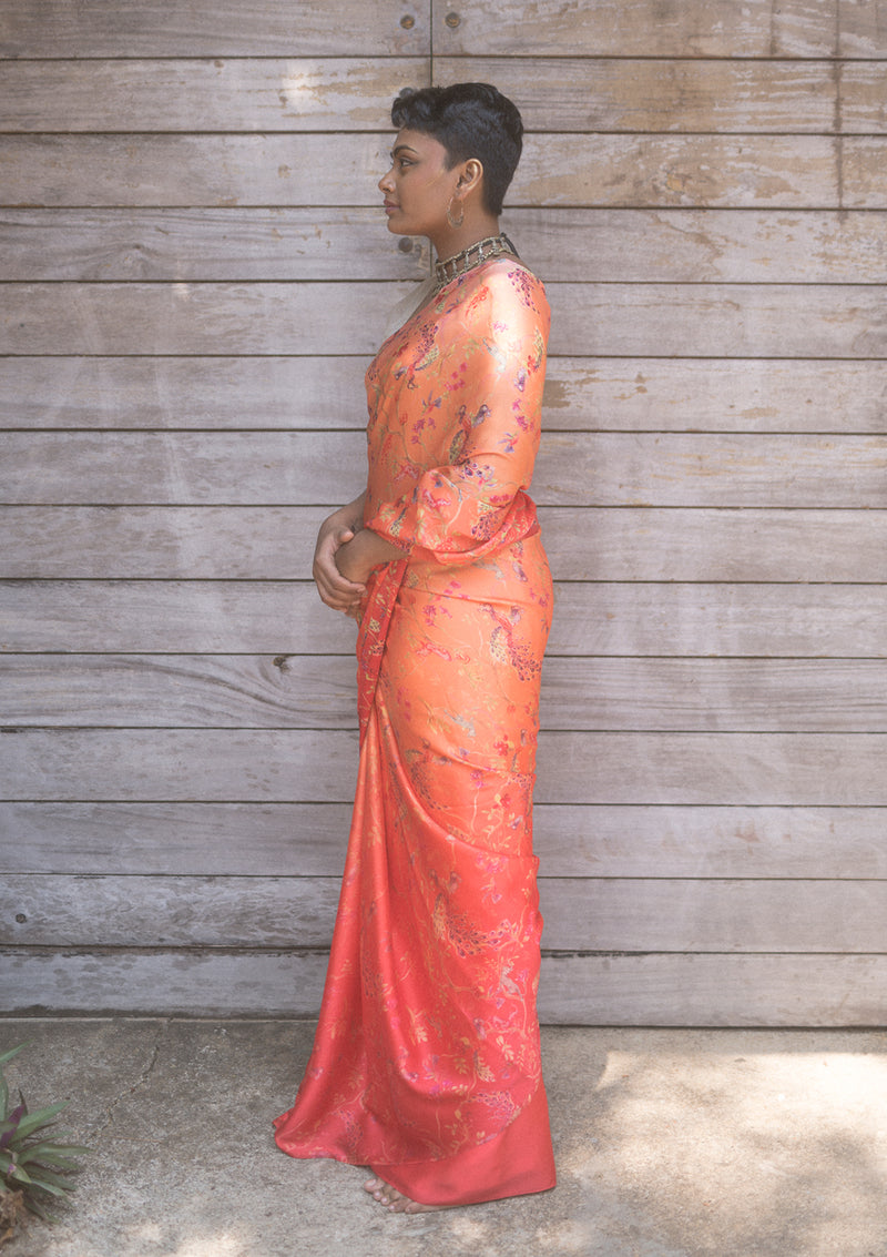 Whimsical Orange Ombré Saree