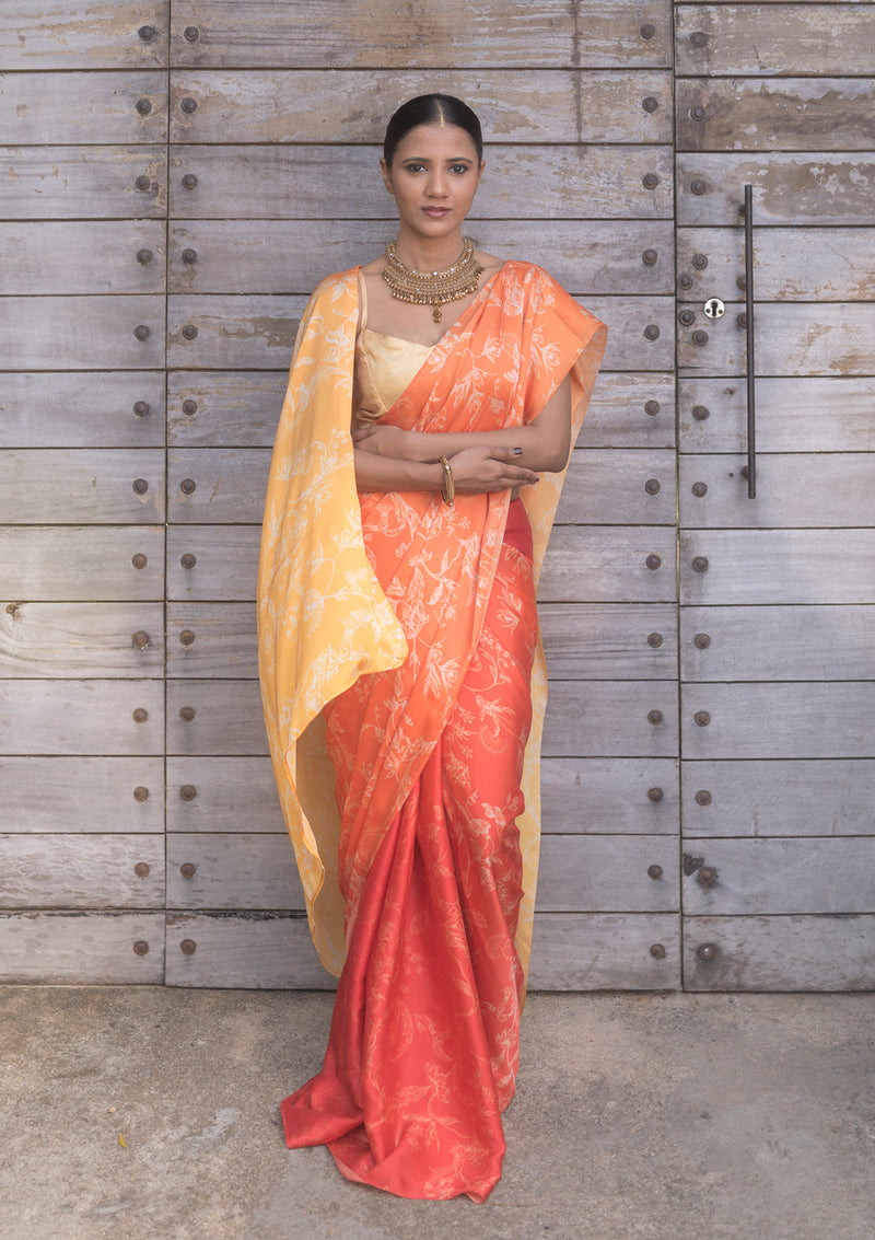 Vintage Orchid Ombre Orange Saree