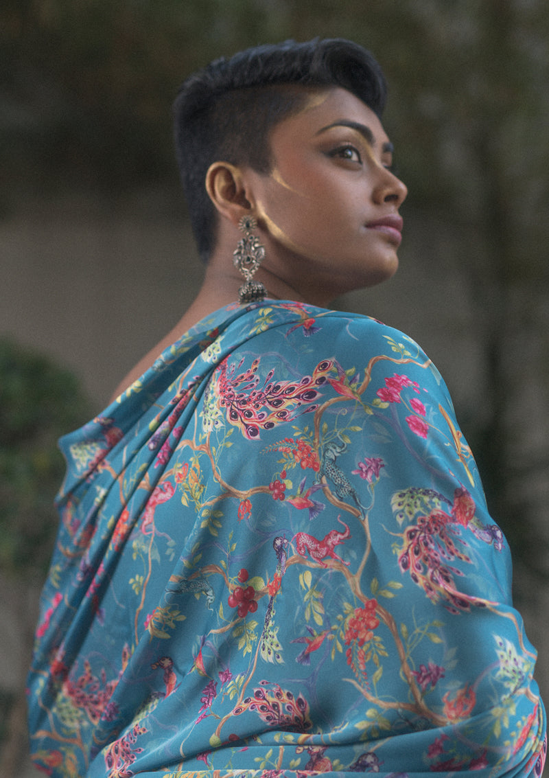 Whimsical Gradient Turquoise Saree