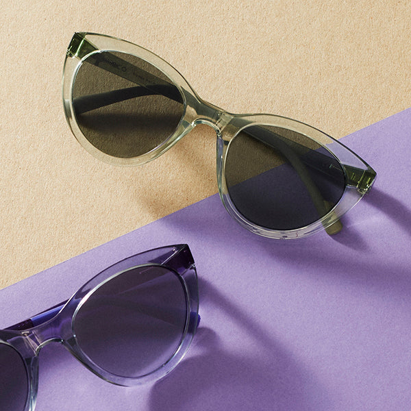 Colorful, RX-able sunglasses in all kinds of shapes. Lightweight and sustainable materials.