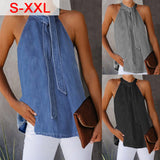 Women's Demin Halter Off Shoulder Blouses Summer Sleeveless Necktie Cool Female Blouse 2020 Fashion Ladies Loose Clothing