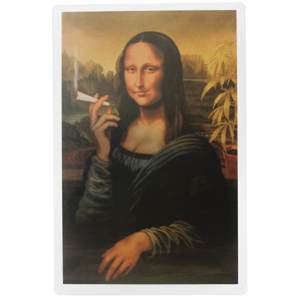 1 pc Mona Lisa Smoking Marijuana weed Tin Plates Signs wall man cave Decoration bar Art retro vintage Poster metal