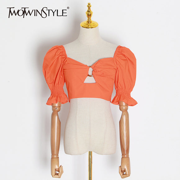 TWOTWINSTYLE Hollow Out Women's Shirts Square Collar Flare Puff Sleeve Shirt Blouse Female 2020 Summer Fashion New Clothing