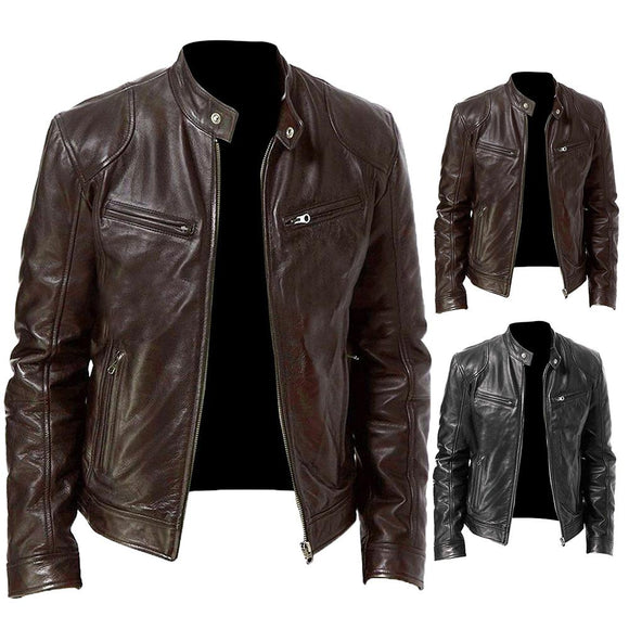 FavoritePlugDiscount- Men Fashion Leather Jacket fit Coat Casual Zipper jacket