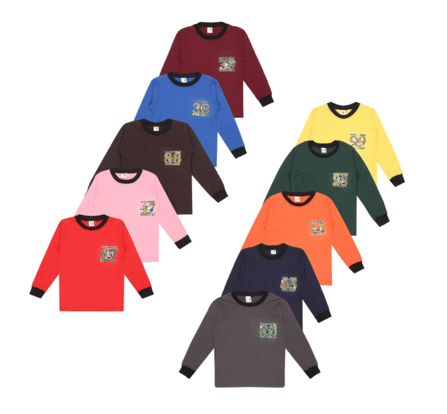 SR Kids Boys Cotton Full Sleeve Rib Neck Self Design Tshirts Multi-Color Pack of 10