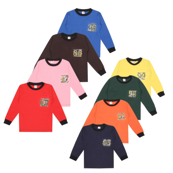 SR Kids Boys Cotton Full Sleeve Rib Neck Self Design Tshirts Multi-Color Pack of 8