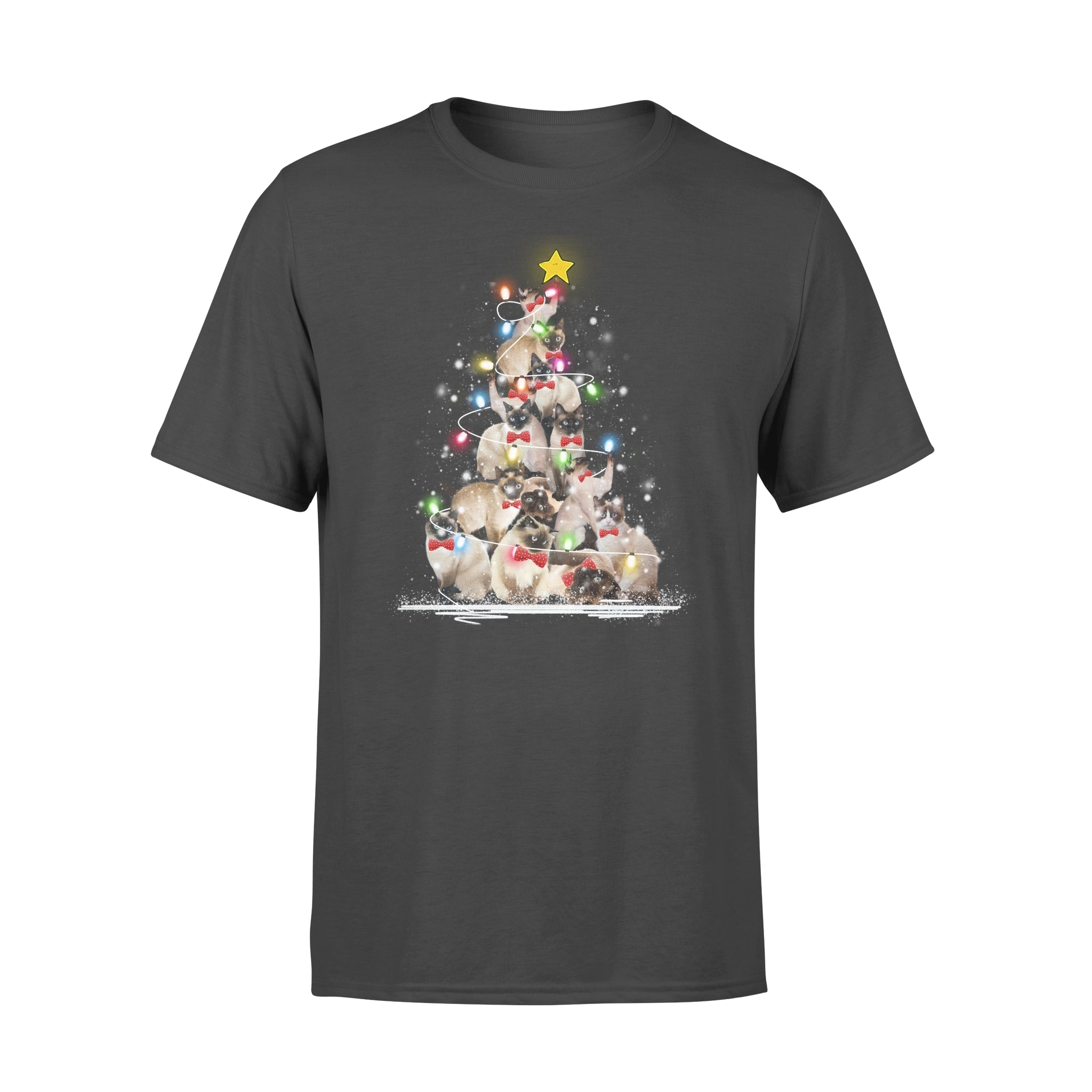 Besteever Cute Siamese Cats Tree Xmas Shirt Gift For Cat Lover Couple Friend Family Christmas TL379 – Standard T-shirt