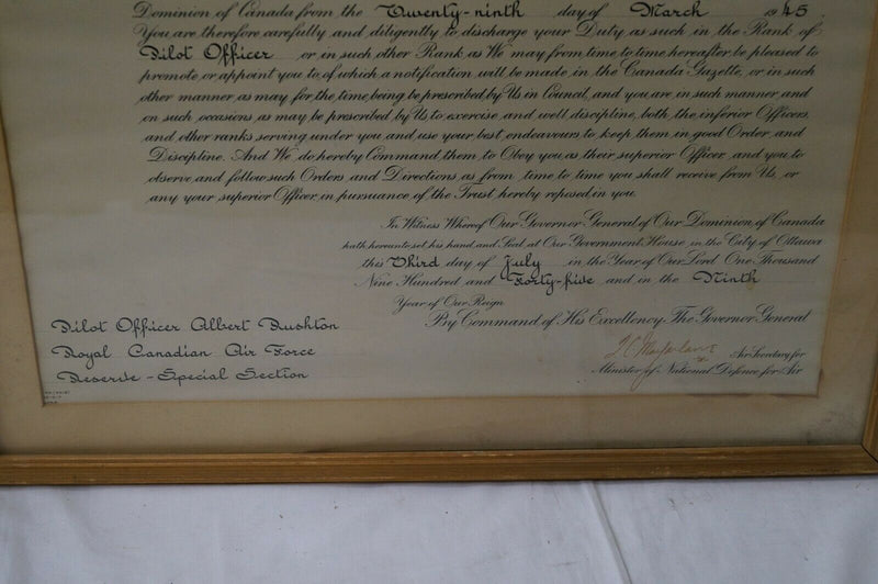 WW2 Canadian RCAF Framed Officer Commission Document 1945