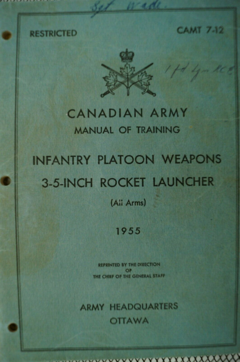Canadian Forces Manual Of Training Infantry Platoon Weapons Reference Book