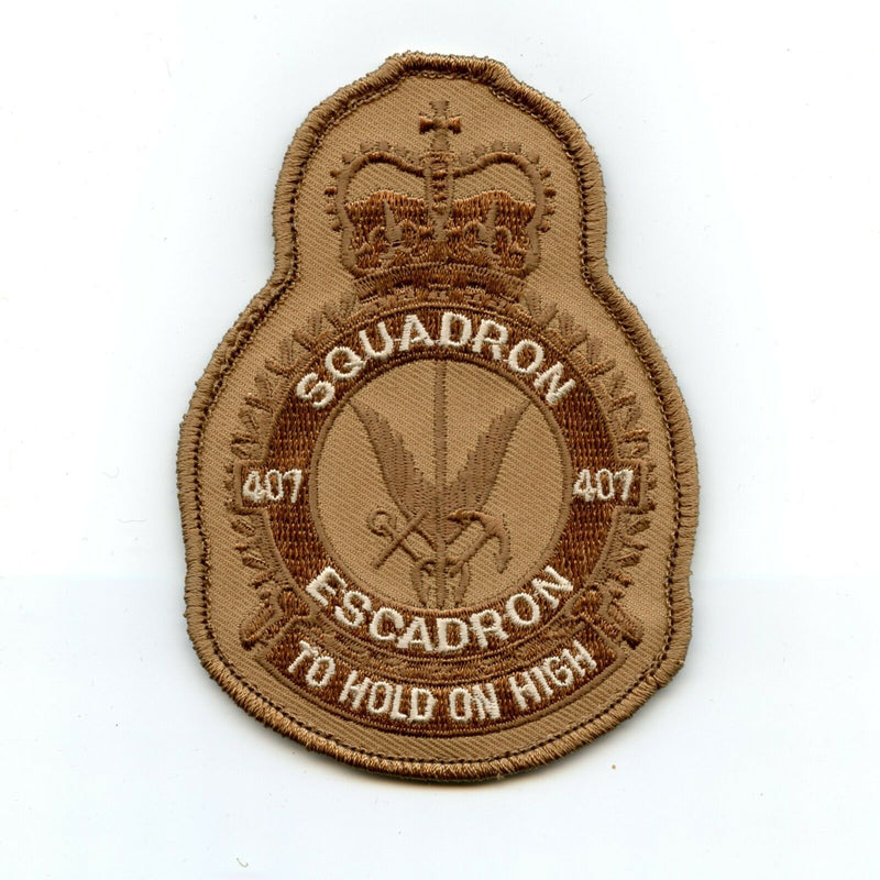 RCAF CAF Canadian 407 Squadron Heraldic Tan Desert Crest Patch