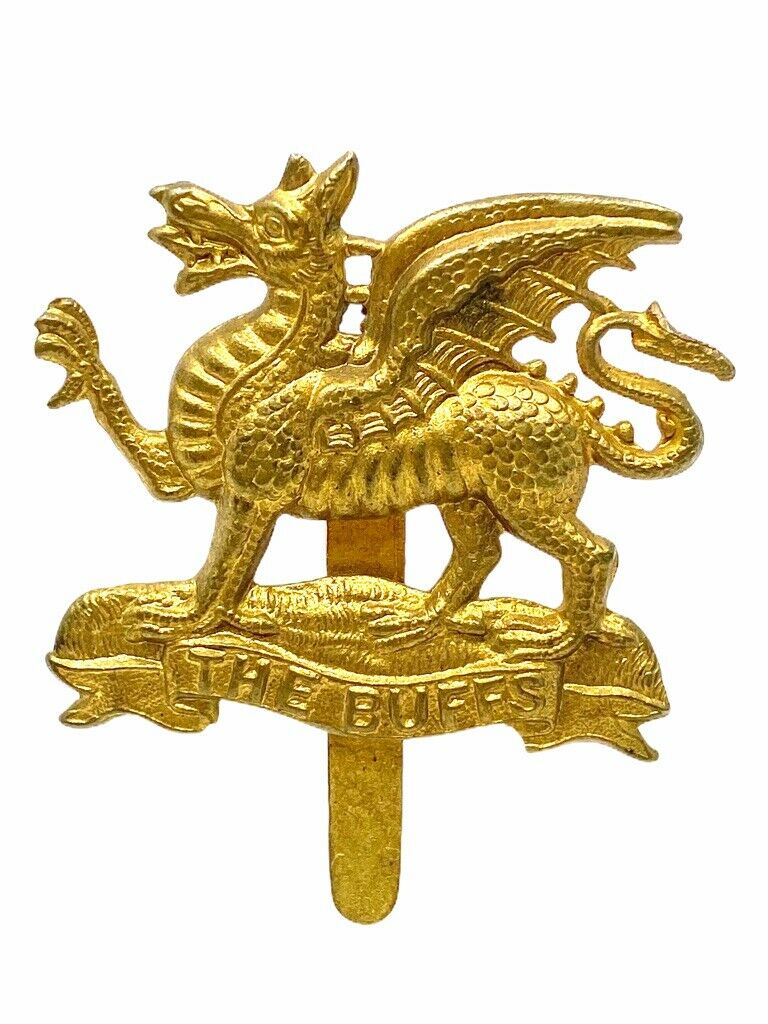WW1 British BEF Buff Regiment Cap Badge